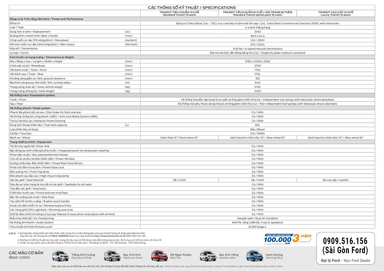 thong so ky thuat ford transit 2019 muaxenhah vn - Ford Transit 2021: Giá Xe, Khuyến mãi #1, Tư vấn trả góp   Ms.Vy